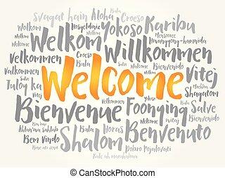 idiomas, bienvenida, diferente, palabra, nube