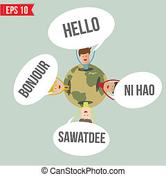 idiomas, decir, hola, en, el mundo, -, vector, ilustración,...