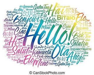 idiomas, diferente, palabra, hola, nube