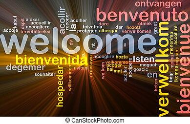 idiomas, encendido, concepto, plano de fondo, bienvenida