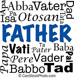 idiomas, escrito, padre, diferente