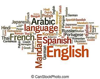 idiomas, etiqueta, nube