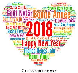idiomas, feliz, año, nuevo, 2018, diferente