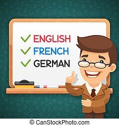 idiomas, frente, whiteboard, profesor, extranjero