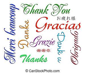 idiomas, muchos, usted, agradecer, tarjeta