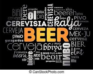 idiomas, mundo, cerveza, diferente