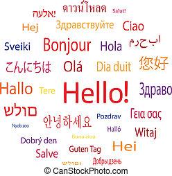 idiomas, mundo, palabra, hola