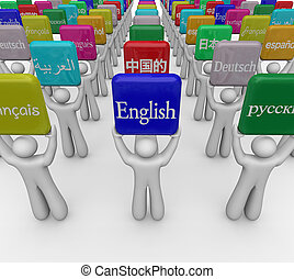 idiomas, palabra, señales, tenido, por, gente, traducir,...
