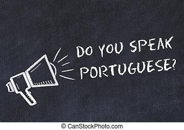 idiomas, símbolo, concept., altavoz, tiza, portugués, hablar, aprendizaje, usted, extranjero, frase