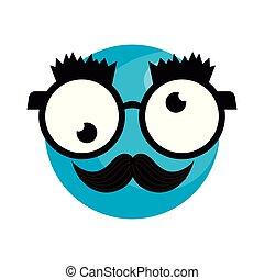 idiot, emoticon, figure, lunettes, moustache, heureux