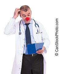 idiot fake doctor scratching his head while reading