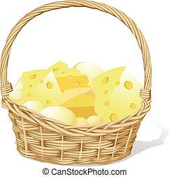 idiot, fromage, isolé, vecteur, fond, panier, blanc