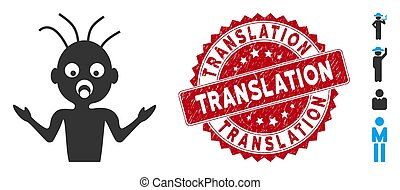 Idiot Icon with Textured Translation Stamp - Vector idiot ...