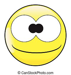 idiot, stupide, figure, emoticon, sourire, bouton, grands yeux
