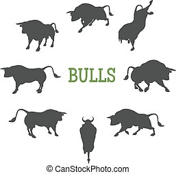 Idle and Moving Bulls - Set of 8 different bulls silhouettes...