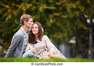 Idle - Happy girl and her boyfriend enjoying being together...