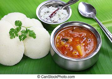 south indian breakfast - idli, sambar and coconut chutney,...