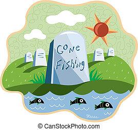 ido, dice, cemetary, imagen, agua, pesca, lápida