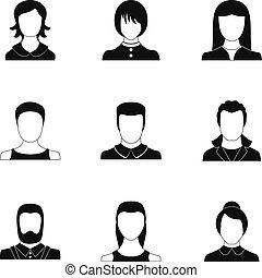 Idol icons set, simple style