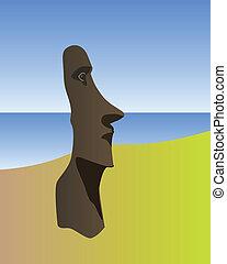 Idol of Easter Island on a sea background