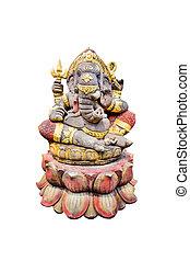 idol of Hindu god Ganesha isolate on white background.