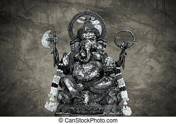 idol of Hindu god Ganesha on cracke