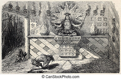 Idol worship - Old illustration of indigenous in central...