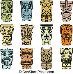 idoles, tribal, démons, masques