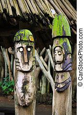 (idols), 木製である, 村, 2, トーテム, アフリカ