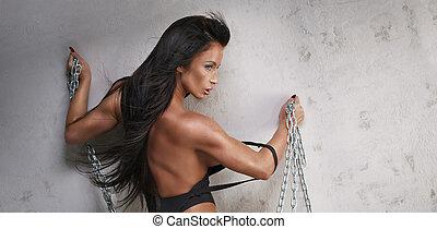 idoneità, donna, con, ideale, corpo, posing.