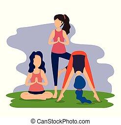idoneità, donne, esercizio, posa