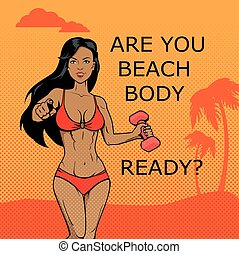 idoneità, girl., spiaggia, corpo, pronto, disegno