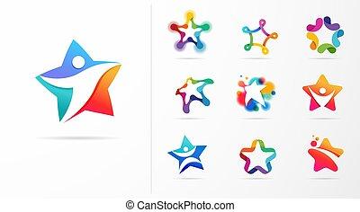 idoneità, logos., vettore, disegno, stella, cultura, sport, icone, eccellenza