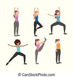 idoneità, set, esercizio, donne