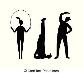 idoneità, sport, silhouette, esercizio, persone