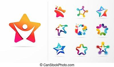 idoneità, vettore, eccellenza, logos., disegno, cultura, stella, icone, sport