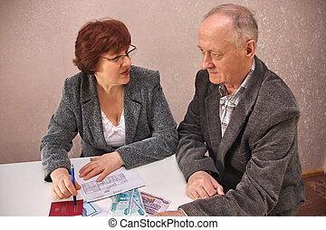idoso, dinheiro, par, decidir, edições