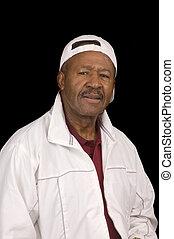 idoso, homem americano africano