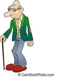 idoso, ilustração, homem