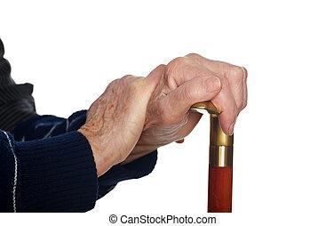 idoso, mãos, descansar, vara