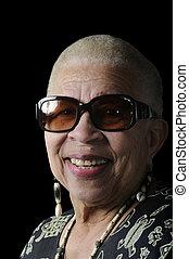 idoso, mulher americana africana