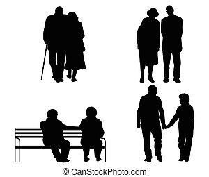 idoso, pares, silhuetas