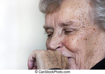 idoso, senhora, rir