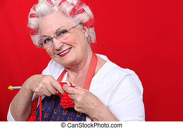 idoso, senhora, tricotando
