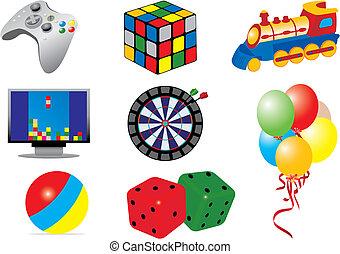 idræt, og, legetøj, iconerne