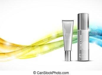 idratante, pelle, annunci, sagoma, cosmetico