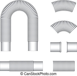 idraulica, corrugato, vettore, tubi, flessibile