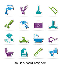 idraulica, oggetti, attrezzi, icone