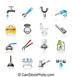 idraulica, realistico, oggetti, icone