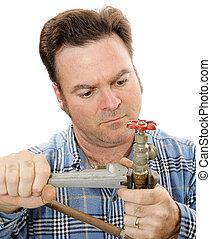 idraulica, riparazione, closeup